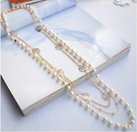 Multilayer Necklace Rose  Beads Chain Long Statement Beaded Strand Women