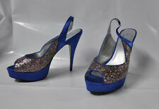 "Shoedazzle ""Bombshell"" Blue and glitter slingback pump - Size 11, 5.5"" heel  New"