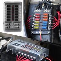New 12Way Blade Fuse Box Bus Bar Car Kit With Cover Marine FuseBox Holder 12/32V