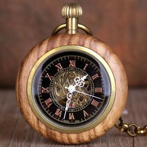 Vintage Wood Open Face Roman Numbers Men Women Mechanical Pocket Watch Fob Chain