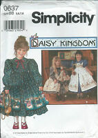 """S 9706 sewing pattern Daisy Kingdom DRESS PINAFORE +18"""" Doll Clothes sew 5,6,7,8"""