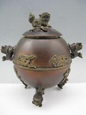 Fine Old Copper Handmade Lion Dragon Phoenix Statue Decor Noble Incense Burner