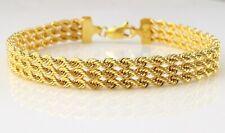 9ct Gelbgold drei Strang Seil Armband 18cm/7 Zoll