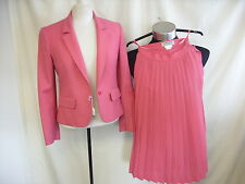 "Ladies Suit Jaeger pleated skirt rose pink waist 24"" chest 34"" length 27"" 7836"