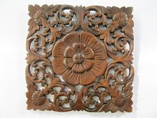 "Thai Vintage Carved Wood Wall Decor Panel Floral Wood Wall Art Dark Brown 11"""