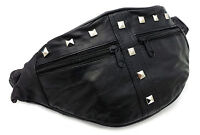 New Black Genuine Leather Festival Studded Bum Bag Vintage Fanny Pack Ibiza