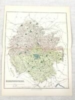 1889 Mappa Antica Di Herefordshire Leominster Ludlow Ross Hereford 19th Secolo