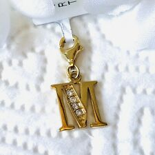 Gold Overlay Simulated Diamond 925 Sterling Silver Initial M Charm.