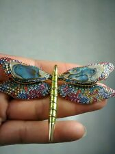 Pretty Joan Rivers  swarovski  crystal  dragonfly gold tone pin brooch