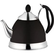 STAINLESS STEEL TEA POT WITH REMOVEABLE INFUSER NON DRIP SPOUT TEAPOT BLACK 1.5L