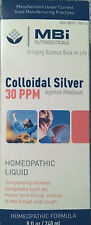 MBi GNC COLLOIDAL SILVER 30 ppm 8oz Homeopathic Liquid Throat EXPIRE 12/2018 mbi