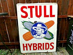 VTG**RARE** 1945 STULL CORN HYBRID EMBOSSED PAINTED METAL 48: FARM SIGN GAS OIL