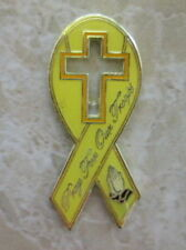 SUPPORT OUR TROOPS YELLOW RIBBON PRAY PRAYING HANDS PIN BADGE (MB-07) AMERICA