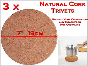 """3 New Natural Cork Trivets 7"""" 19cm - Protect Your Countertops From Hot Cookware"""