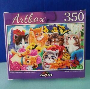 """CrazArt Artbox 350 Piece Jigsaw Puzzle 18.25"""" x 11"""" Playtime In The Garden II"""