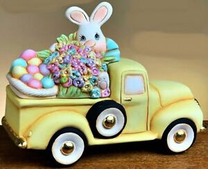 CERAMIC BISQUE OLD PICKUP TRUCK  W/ EASTER BUNNY & EGGS INSERT~ READY TO PAINT