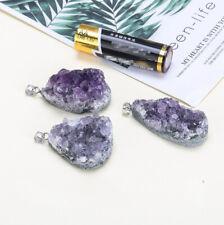 10 Pieces Natural Original Titanium Amethyst Drusy Gem Silver Pendants Necklaces