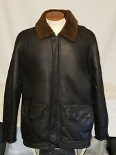 SCHOTT NYC Jacket Coat Bomber Biker Flight Leather Sheepskin Black 42 VINTAGE