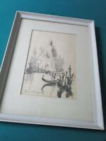 "ORIGINAL SIGNED INK PAINTING ""VENICE"" ILLEGIBLE SIGNATURE"