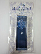 "Car Mezuzah 2.5"" Acrylic ROYAL BLUE STAR with Travelers Prayer Scroll"
