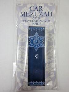 "Car Mezuzah 2.5"" Acrylic ROYAL BLUE STAR with Travelers Prayer Scroll"