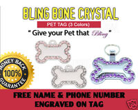 ID Pet Tags Bling for Cat Or Dog -3 Colors - Free Name & Phone Number Engraved