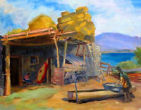 1950s Socialist Realism Painting VILLAGE LIFE Russian ARMENIAN listed ABRAHAMYAN