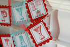 Happy Birthday Red  Blue Stripe Vintage Circus Carnival Elephant Theme Banner