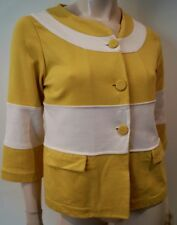WEEKEND MAXMARA Yellow White Cotton Blend Round Neck Boxy Blazer Jacket M