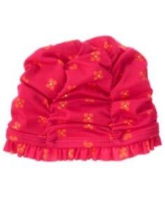 GYMBOREE SUNSET GLOW PINK w/ FLOWERS RUFFLE SWIM CAP HAT 0 6 12 NWT