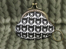 Handmade BEAR Prints Coin Purse Coins Bag Small Pouch 6.5cm Kiss lock (Black)