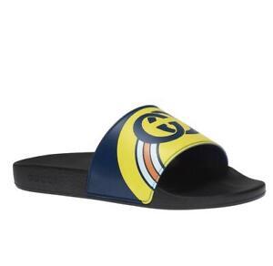 Gucci Persuit Men's Blue/Yellow Rubber Slipper Sandal 6G/US 6.5 548703 4736