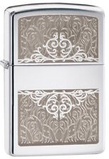 "Zippo Lighter ""Filigree Initial No 28467 - New on polished black ice chrome"