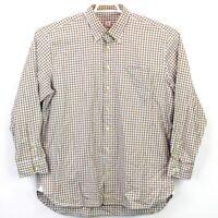 Peter Millar Men's Size XL Brown Blue White Check LS Button Down Shirt EUC