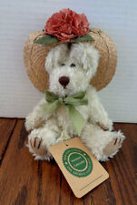 """Boyds Bears 7"""" plush from The Archive Collection -- unnamed w/ straw hat"""