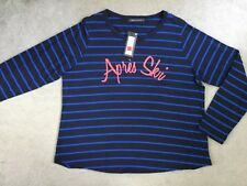 "M&S NAVY TOP WITH BRIGHT BLUE THIN STRIPES & ""Apres Ski"" IN RED - SIZE 18 -BNWT"
