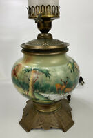 GORGEOUS VTG Hand-Painted Porcelain Brass Floral Table Lamp w/ Deer Forest Theme