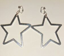 7cm LONG BIG SILVERY STARS  - CLIP ON EARRINGS (Hook options)