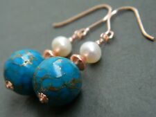 Copper Infused Turquoise Gemstones, Freshwater Pearls, Rolled Rose Gold Earrings