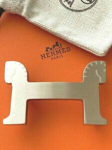Genuine 38MM HERMES Belt Buckle Silver Brushed Horse Cheval