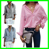 Women's Striped Pocket Fitted Casual Button Down Long Sleeve Tunic Dress Shirts