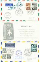 UNGARN 1967 selt. Zwei-Länder-Sonderflugkarte von Pro Aerofila in Budapest MALEV