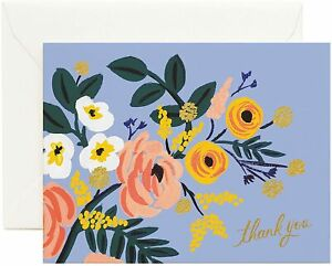 """RIFLE PAPER CO. Greeting Card & Envelope - """"ROBIN"""" Thank You, Floral (Blank)"""