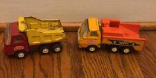 2 Vintage Tonka Mini Pressed Steel Trucks Dump Truck And Race Car Hauler