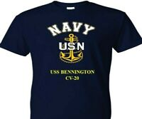 USS BENNINGTON  CV-20  VINYL & SILKSCREEN NAVY ANCHOR SHIRT.