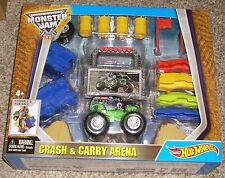 New 2015 Hot Wheels Monster Jam 1:64 Grave Digger Crash And Carry Arena Play Set