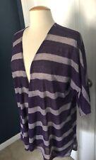 LulaRoe Lindsay Kimono Wrap, Purple & Lavender Stripes, Small