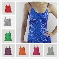 Lady Sequins Strap Vest Glitter Camisole Shiny Sleeveless Shirt Tops Dance Tank