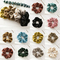 Women Solid Color Velvet Scrunchie Ponytail Holder Elastic Rubber Band Hair Ring