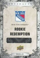 K'Andre Miller UD 2020-21 Rookie Redemption Card RC Rangers Artifacts